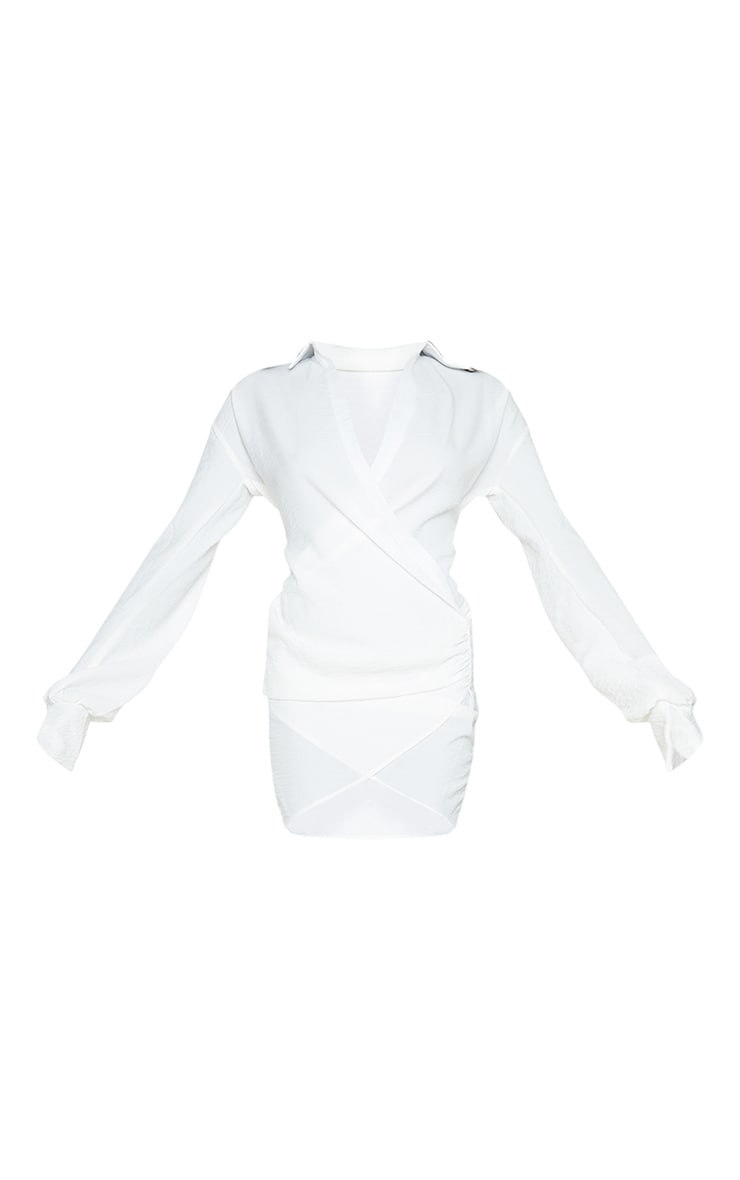 White Textured Woven Extreme Plunge Bell Cuff Shirt Dress 5