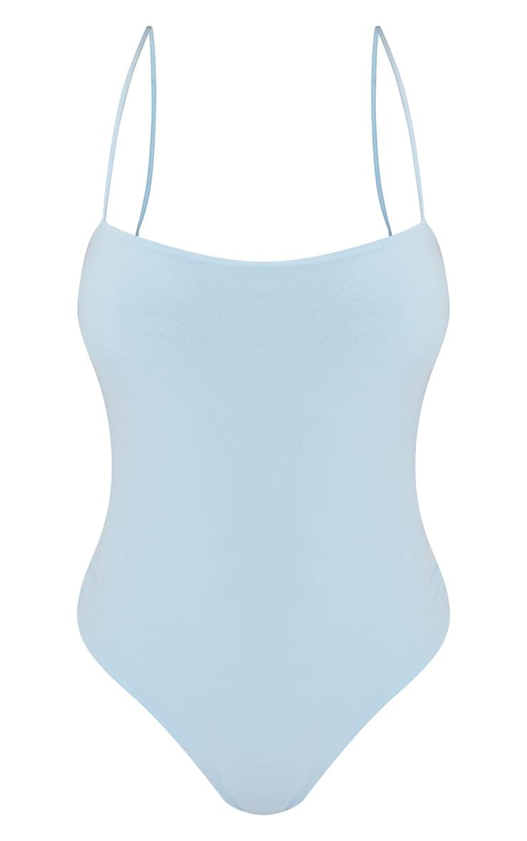 Pastel Blue  Slinky Square Neck Spaghetti Strap Bodysuit 5