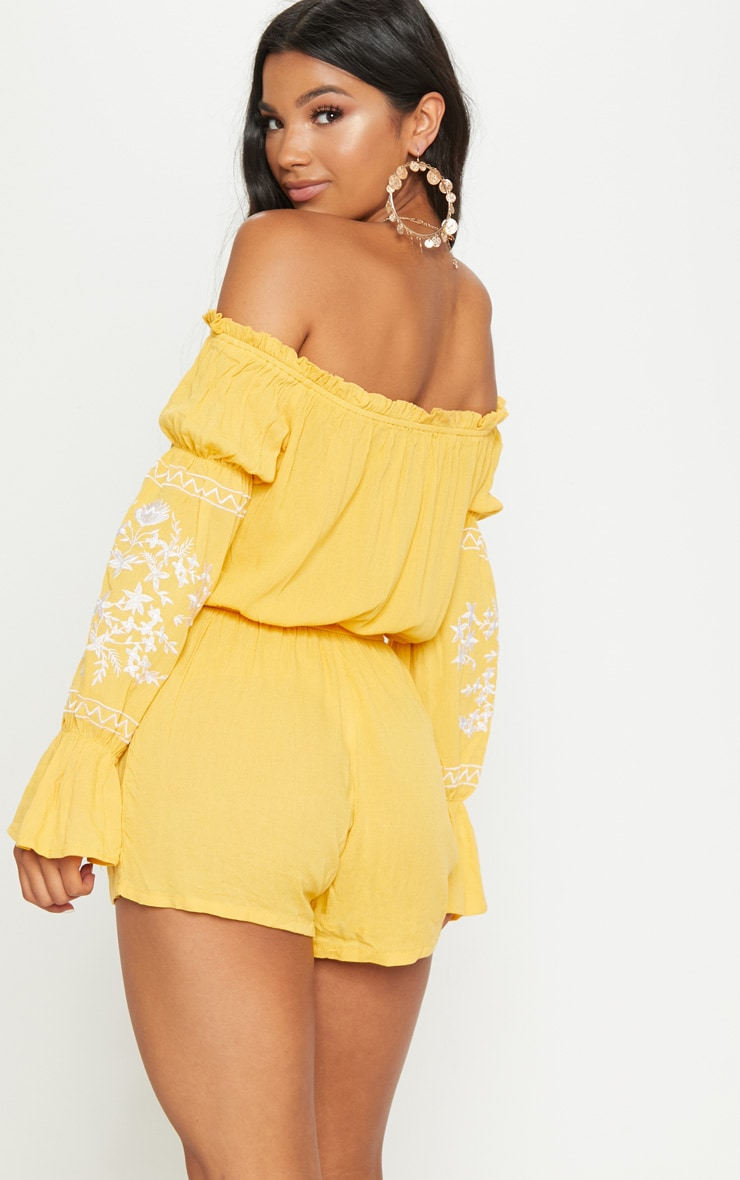 Mustard Bardot Embroidered Playsuit 2