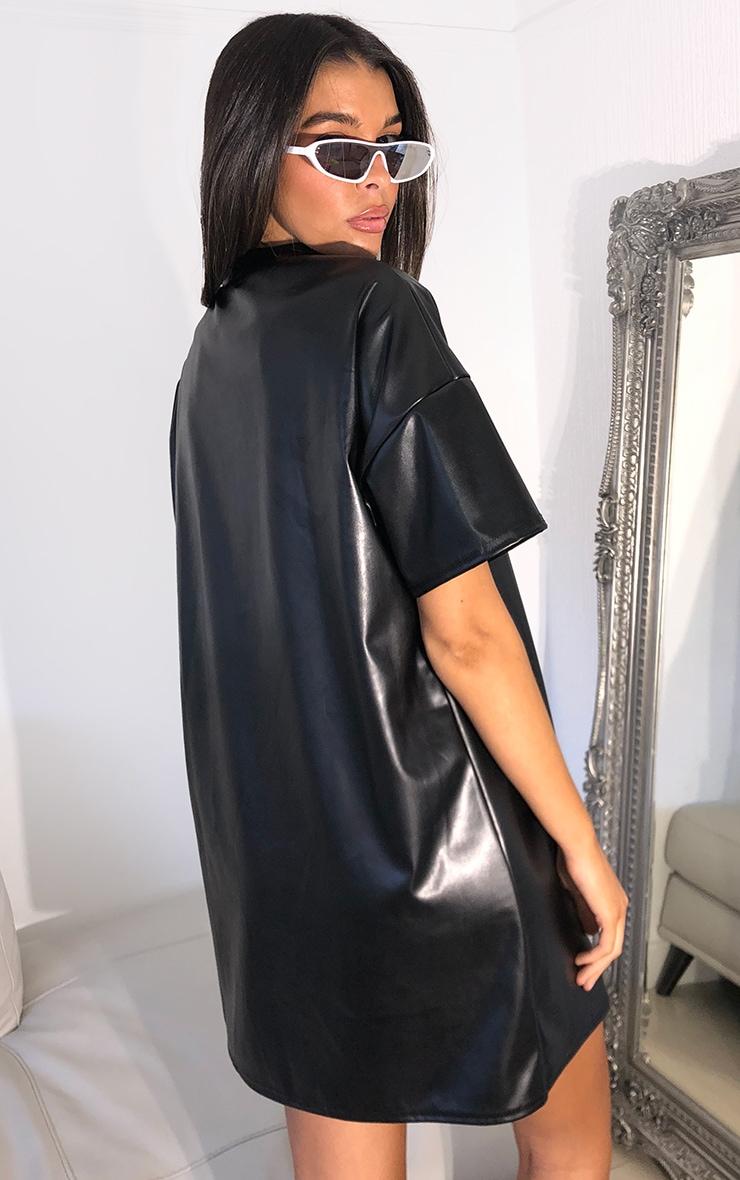 Black PU Short Sleeve High Neck T Shirt Dress 2