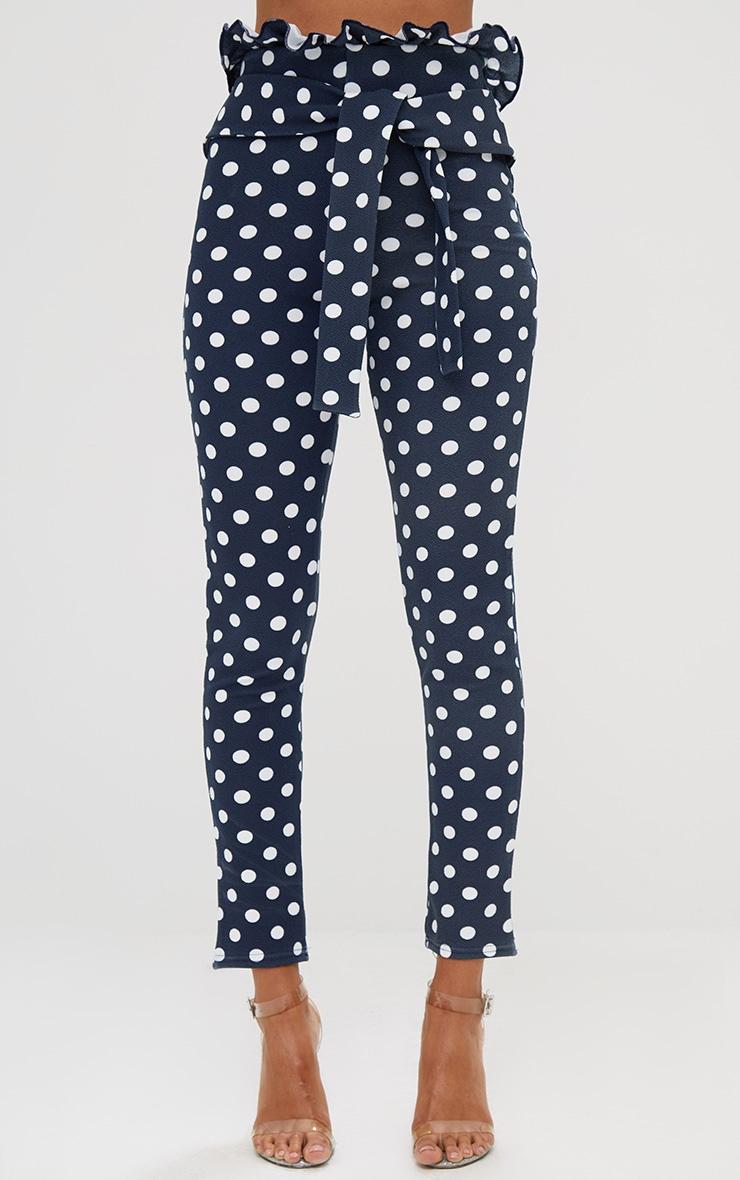 Navy Polka Dot Paperbag Waist Skinny Pants 2