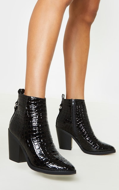 42663ff6fc2a4 Black Patent Croc Western Ankle Boot