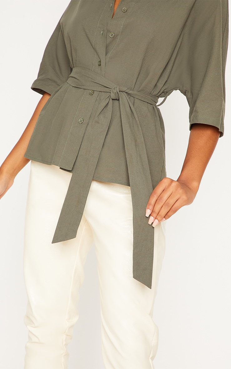 Khaki Oversized Short Sleeve Tie Shirt 5
