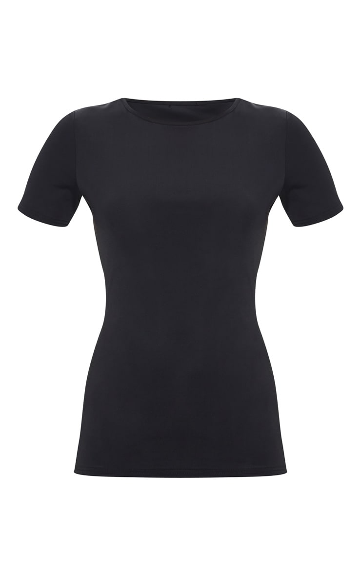 Black Basic Short Sleeve Gym Top 3