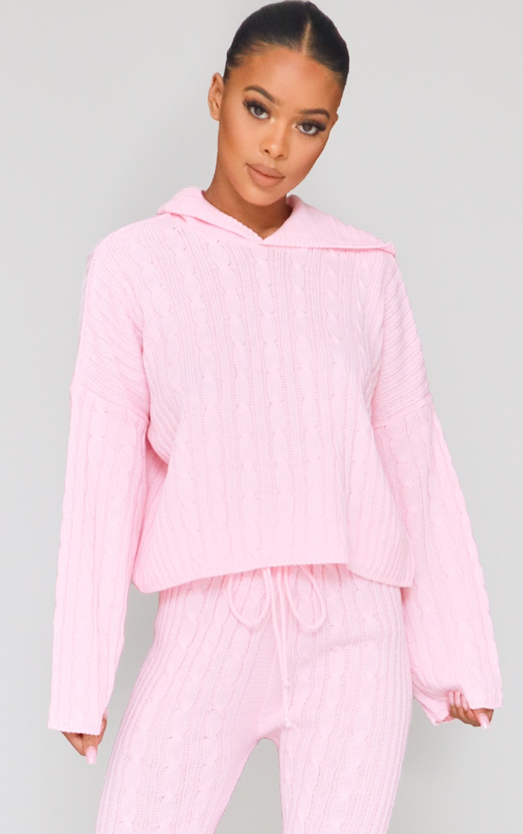 Pink Cable Knitted Hooded Lounge Set 4