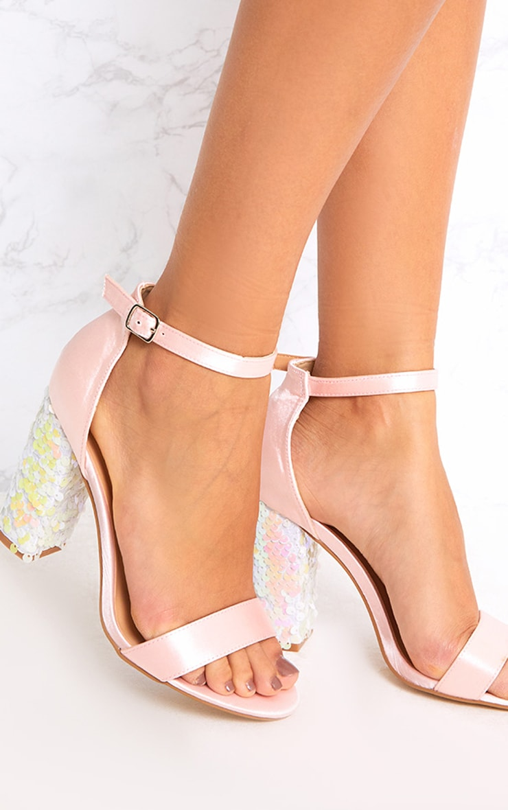 Kaya Ice Pink Sequin Heeled Sandals 1