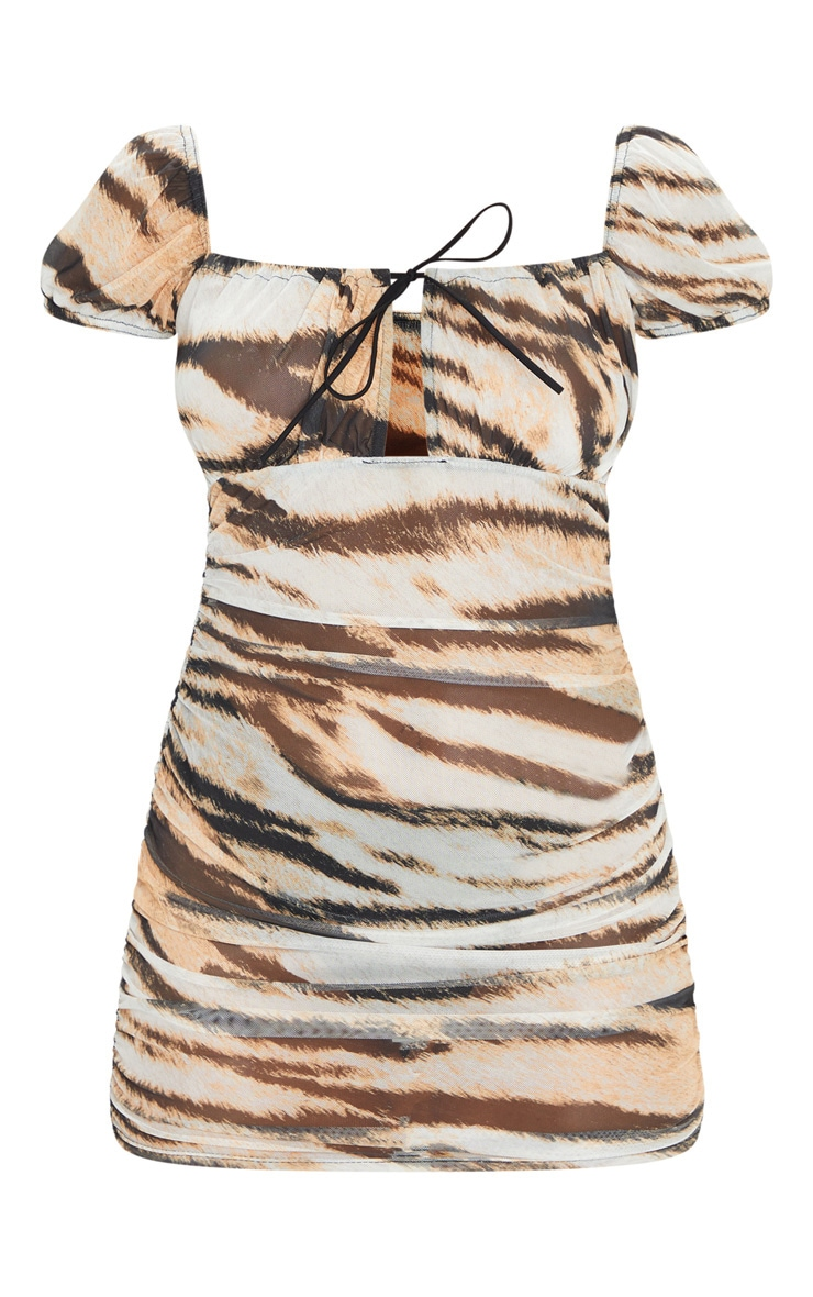 Brown Tiger Print Mesh Ruched Tie Detail Bodycon Dress 5