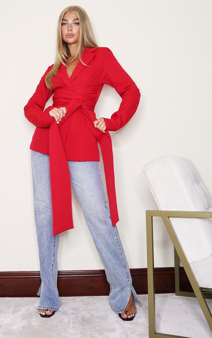 Red Woven Wrap Around Belted Fitted Blazer 1