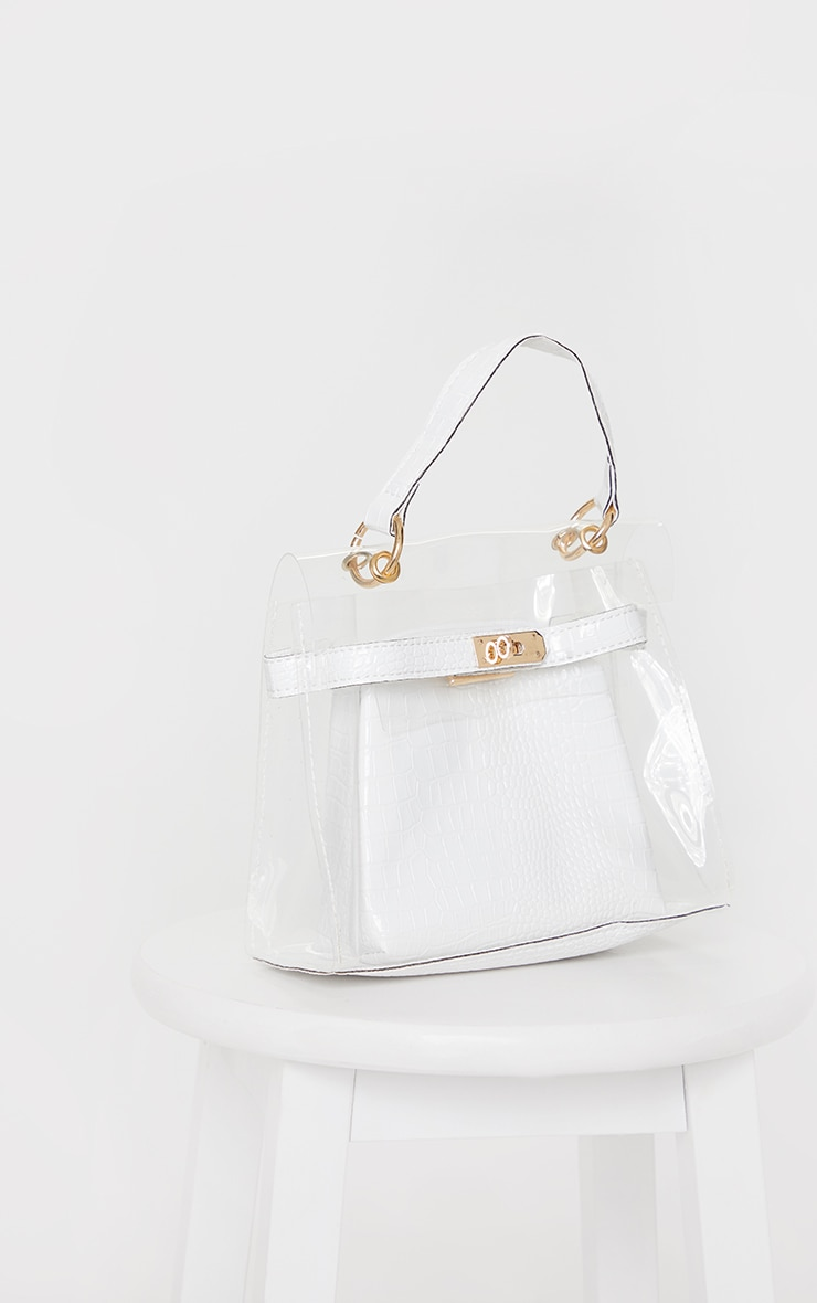 Clear Mini Cream Croc Cross Body Bag 3