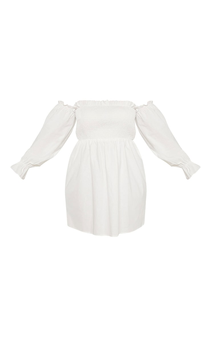 Plus White Shirred Bardot Long Sleeve Dress 3