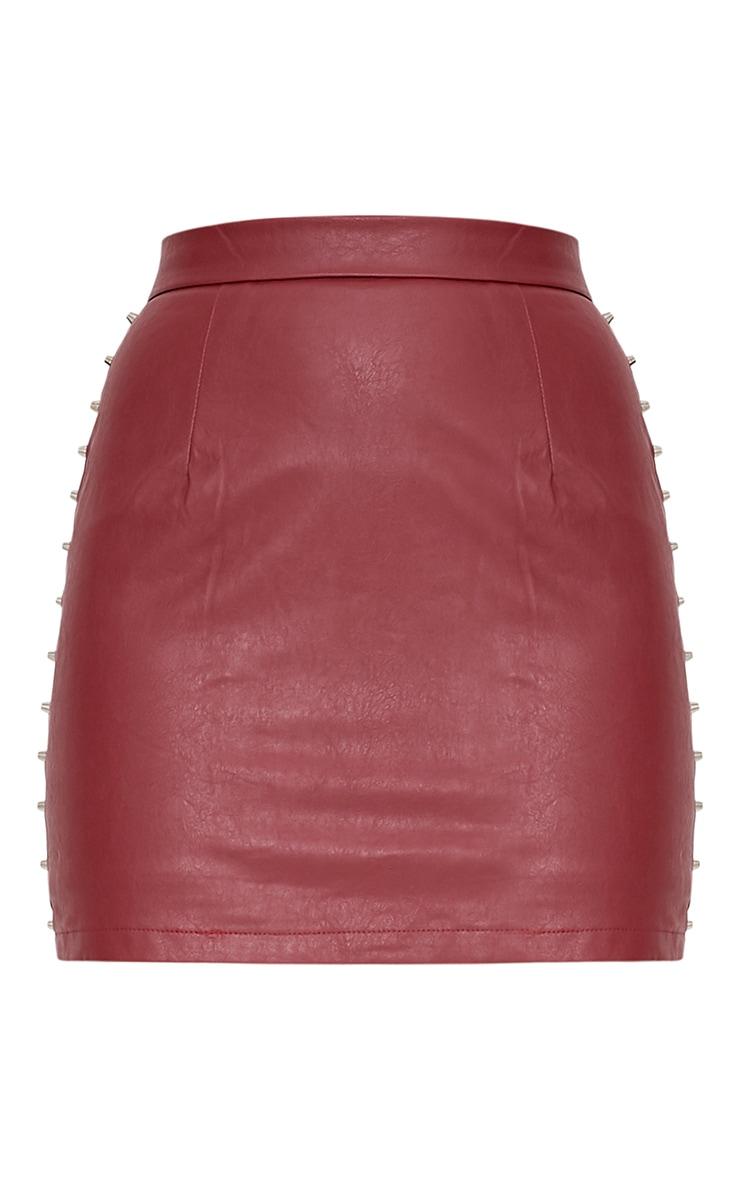Orabella Dark Red Studded PU Mini Skirt 3