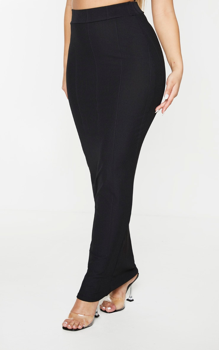 Black Rib Panel Midaxi Skirt 2