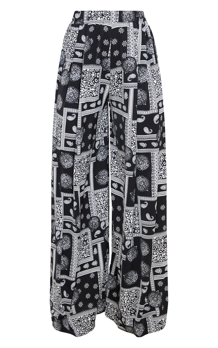 Black Scarf Printed Palazzo Trousers 5