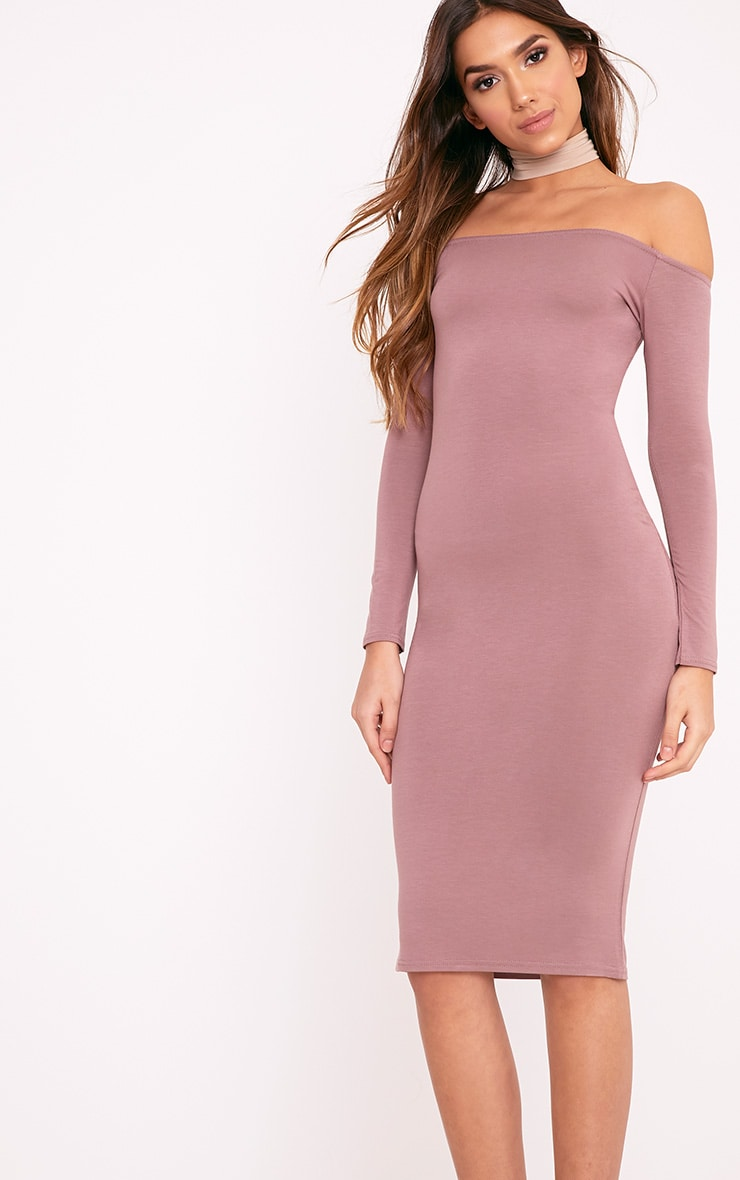 Basic Truffle Jersey Bardot Midi Dress 4