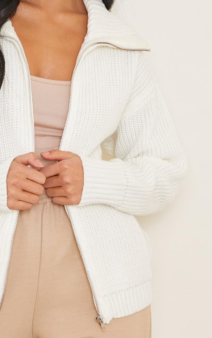 Petite Cream Knitted Zip Through High Neck Jumper 4