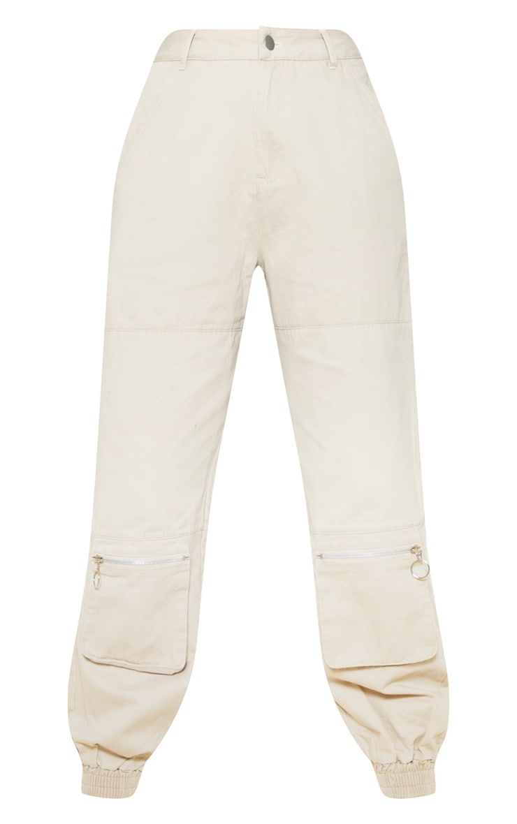 Sand Front Zip Pocket Elastic Cuff Jeans 3