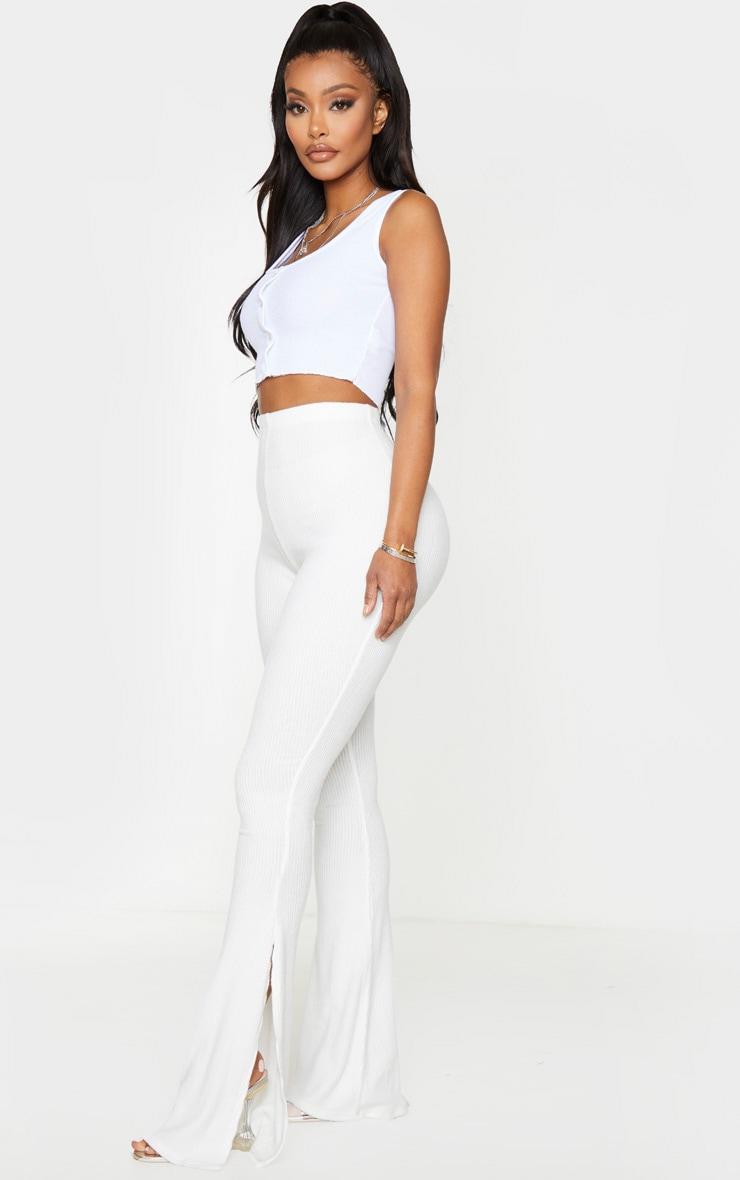 Shape - Pantalon fendu crème en maille côtelée brossée 1