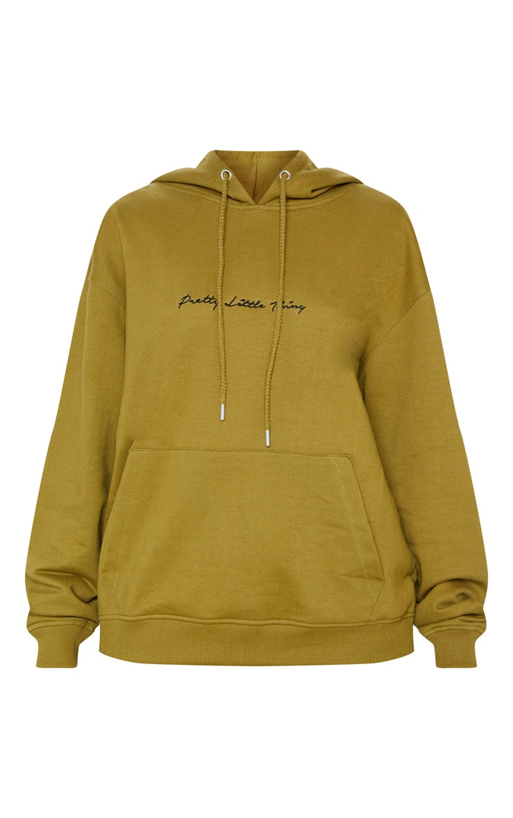 PRETTYLITTLETHING Khaki Embroidered Oversized Hoodie 3