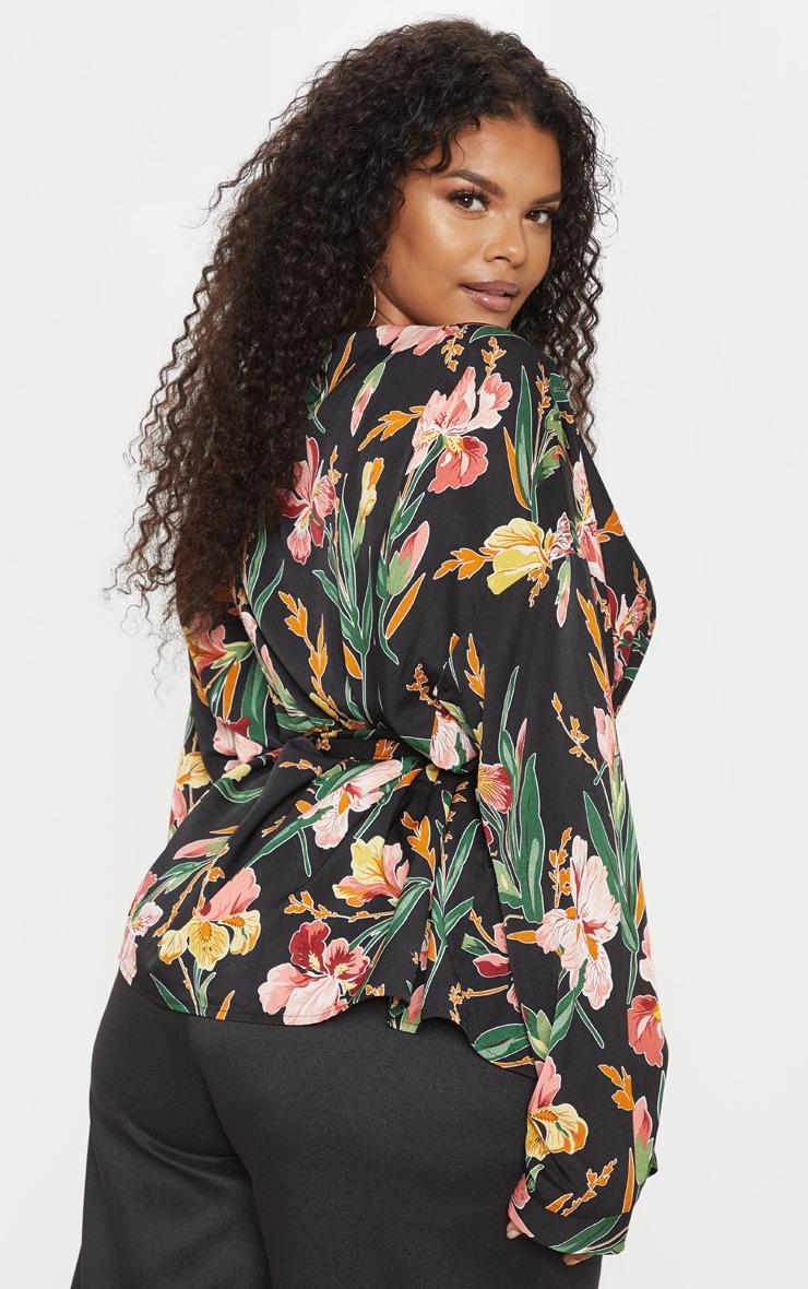 Plus Black Floral Tie Waist Blouse 2