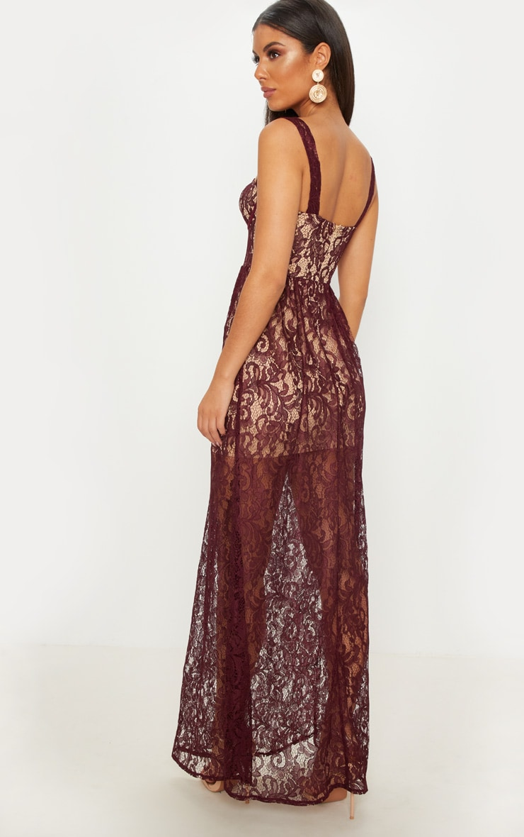 Burgundy Lace Cup Detail Floaty Maxi Dress 2