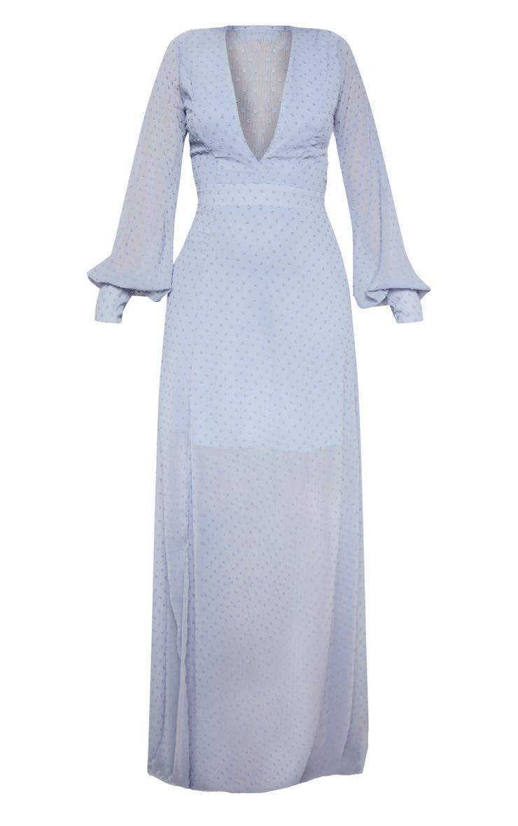Blue Dobby Mesh Plunge Long Sleeve Maxi Dress 3