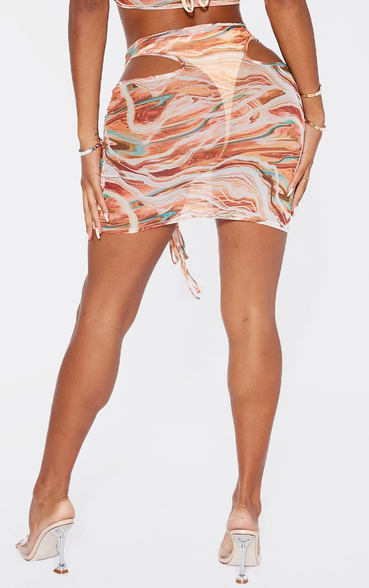 Shape Pink Marble Print Sheer Mesh Cut Out Ruched Bodycon Skirt 3