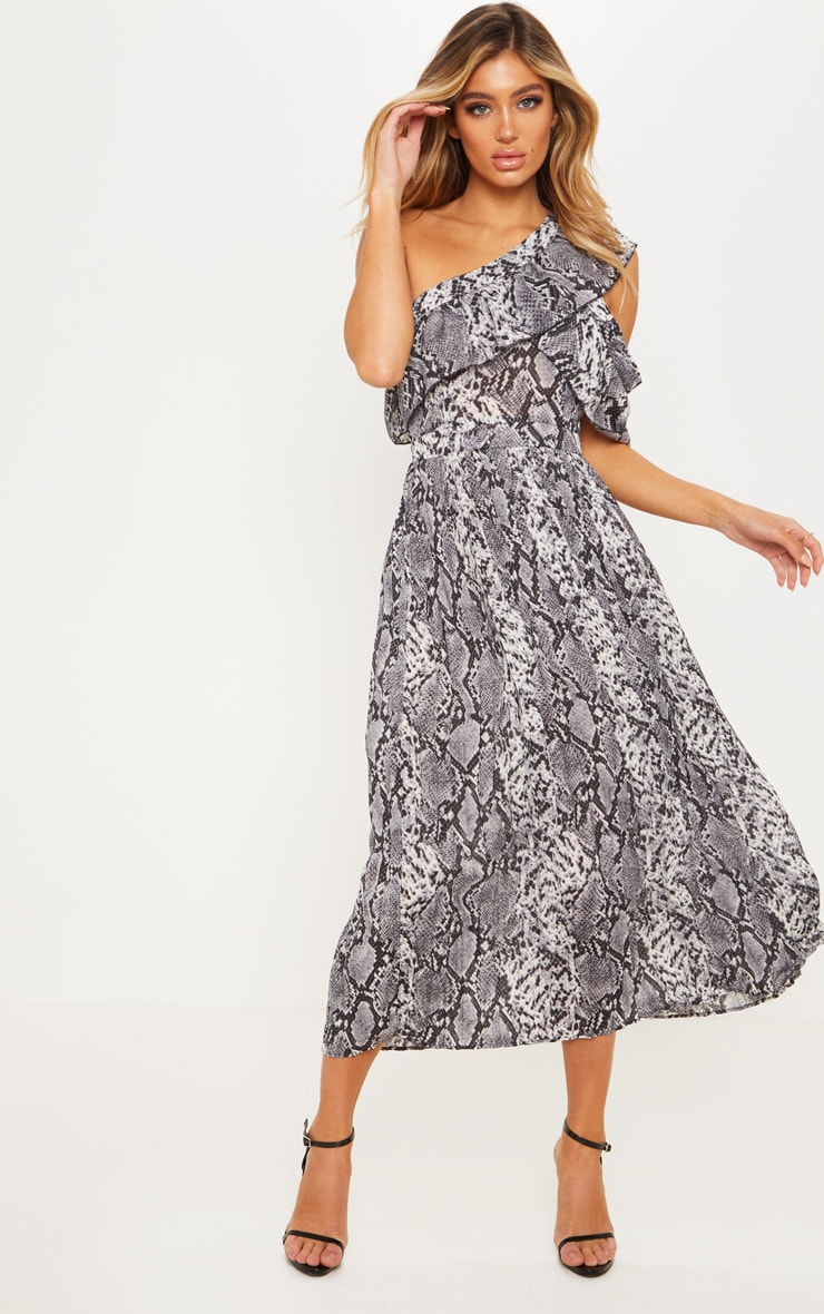 Grey Snake Print One Shoulder Ruffle Detail Pleated Midi Dress 4