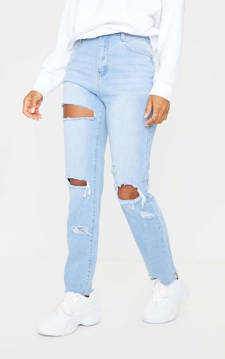 PRETTYLITTLETHING Light Blue Wash Ripped High Waisted Straight Leg Jeans 2