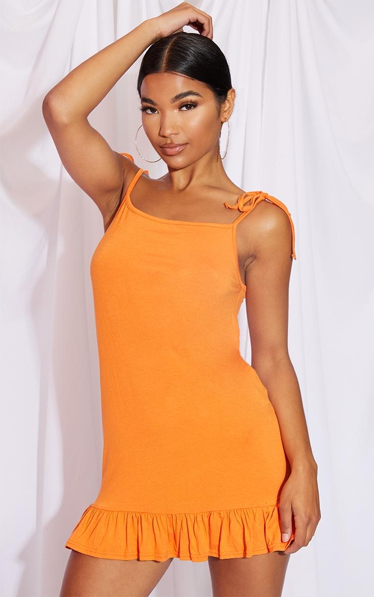 Orange Tie Strap Frill Hem Shift Dress 1