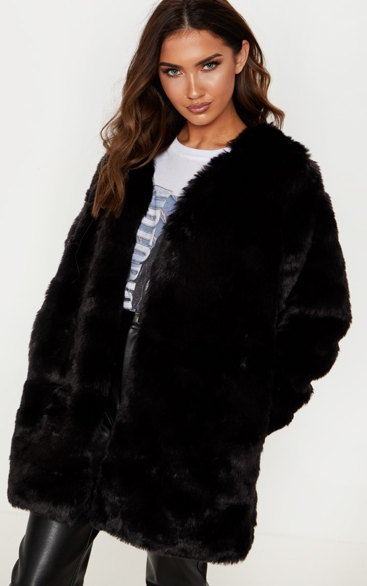 bc30f3cb2 Black Faux Fur Coat