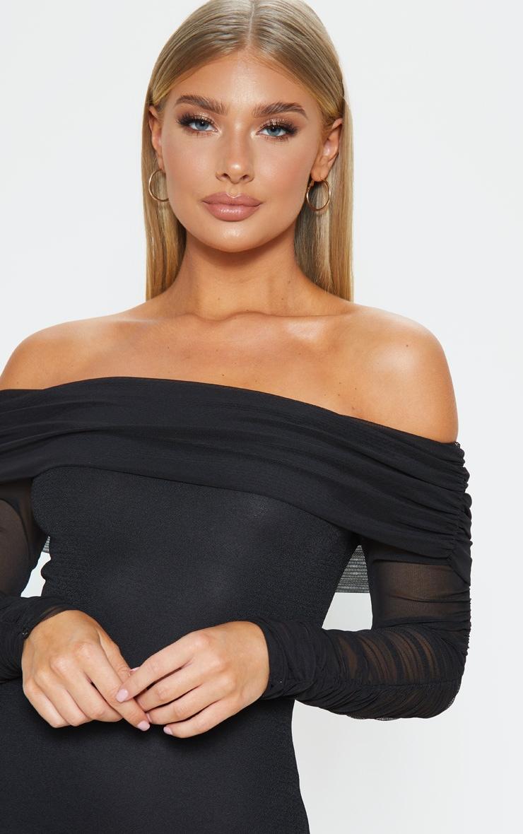 Black Mesh Sleeve Bardot Bodycon Dress 5