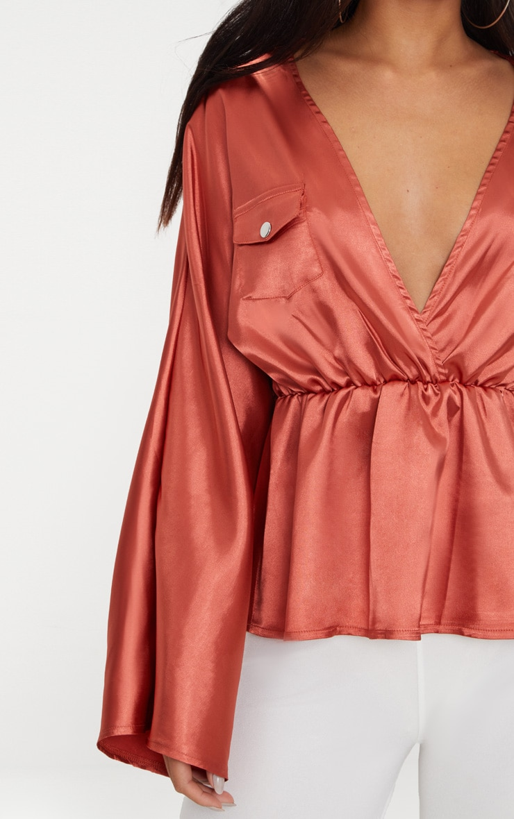 Burnt Orange Satin Plunge Pocket Detail Blouse      5
