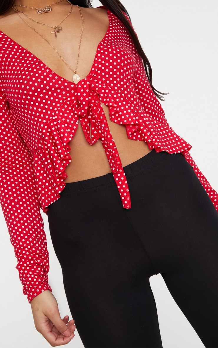 Red Polka Dot Frill Detail Tie Front Crop Top 5
