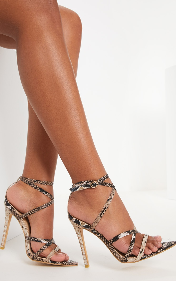 Snake Print Strappy Point Toe Sandal 1