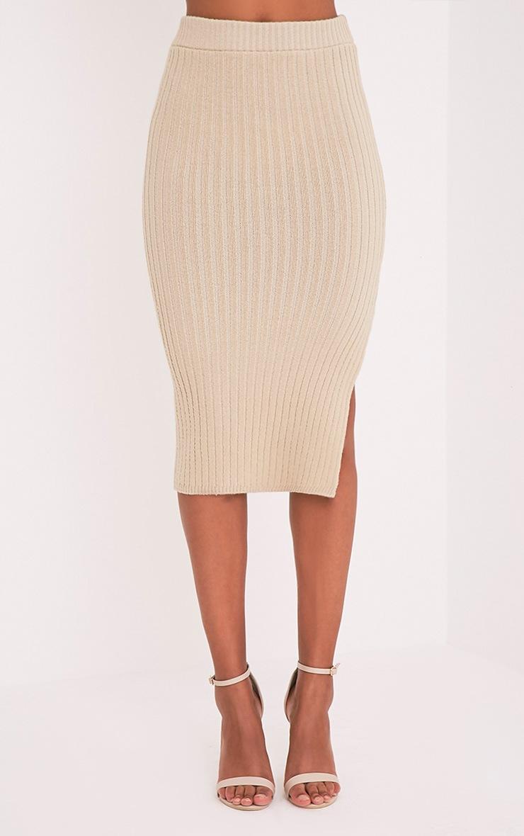 Usmelda Stone Ribbed Knitted Midi Skirt 2