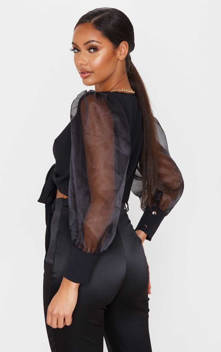 Black Sheer Puff Sleeve Tie Front Shirt 2