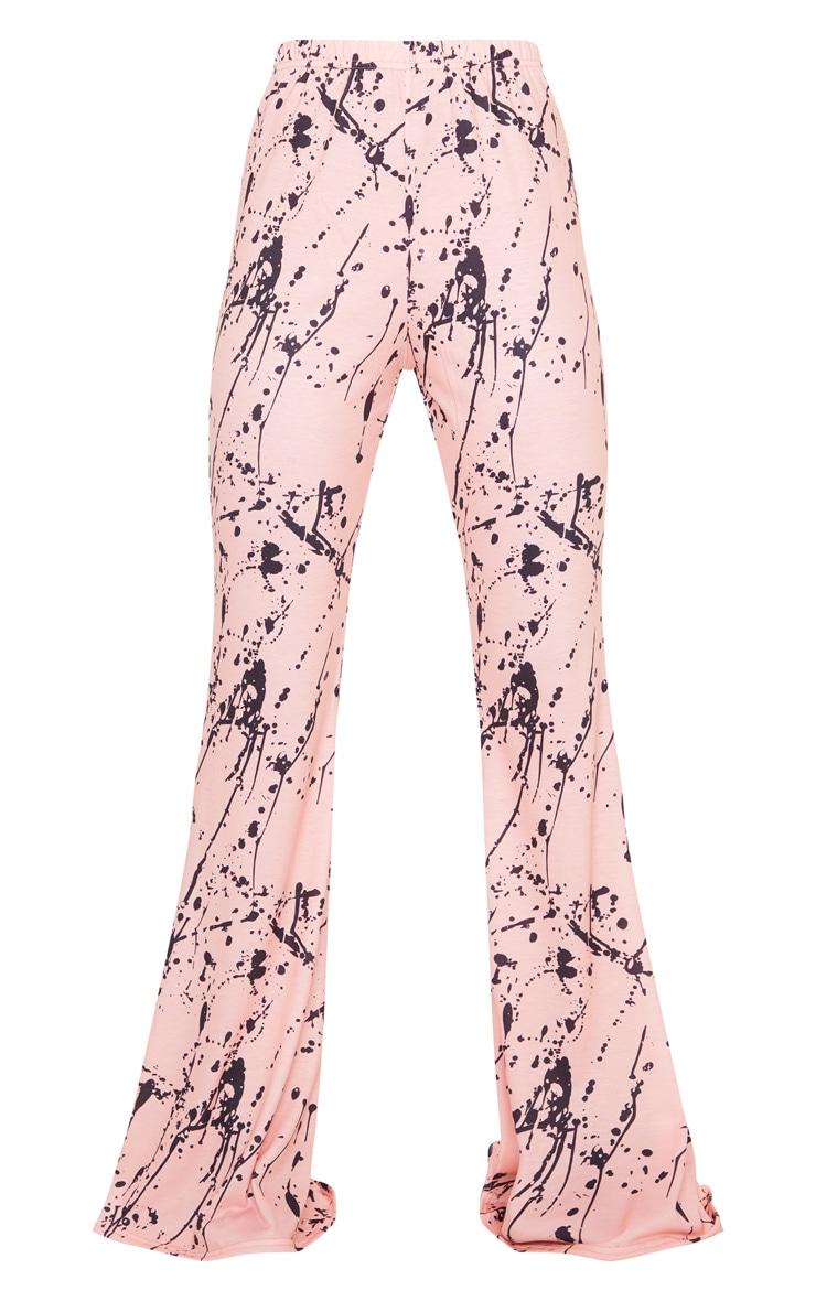 Pink Tie Dye Print Jersey High Waist Flare Trousers 5