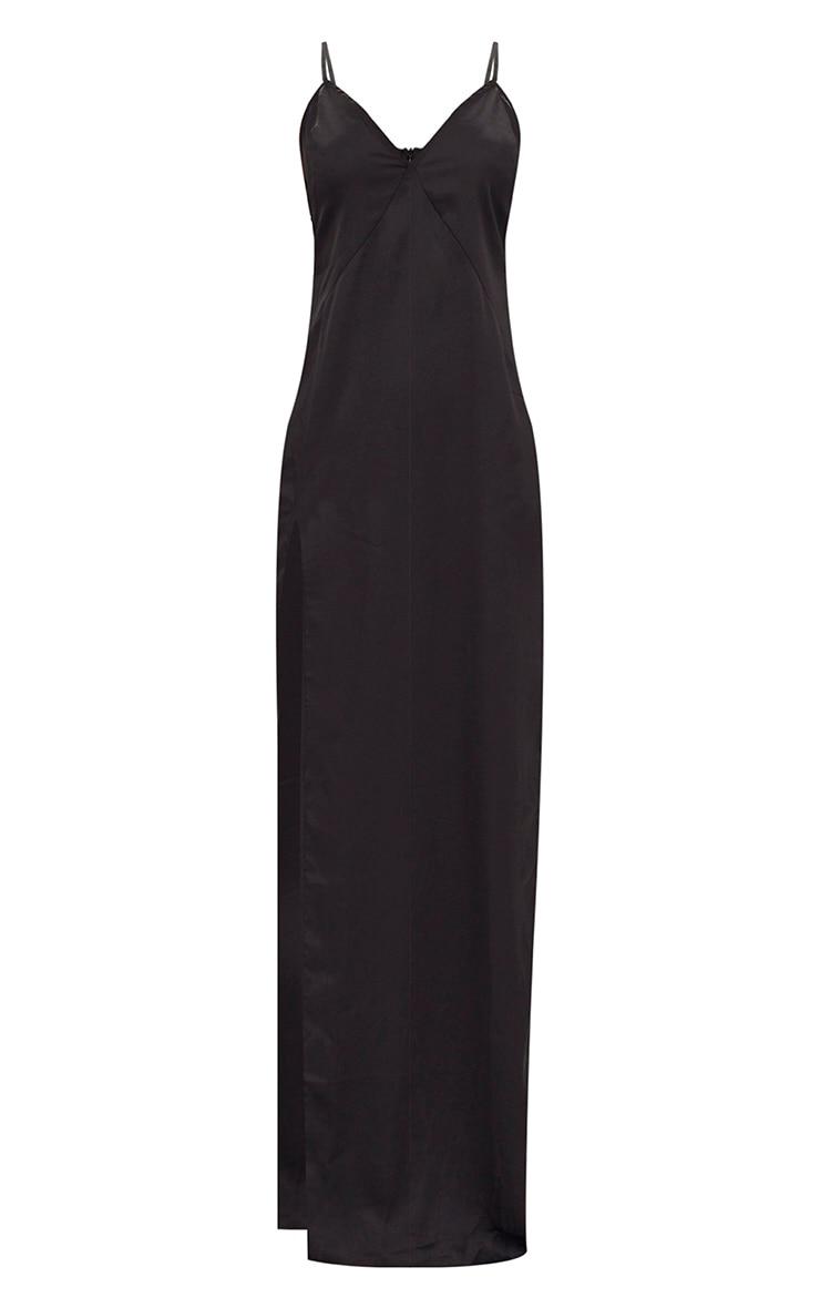 Black Satin Strappy Side Split Maxi Dress 3