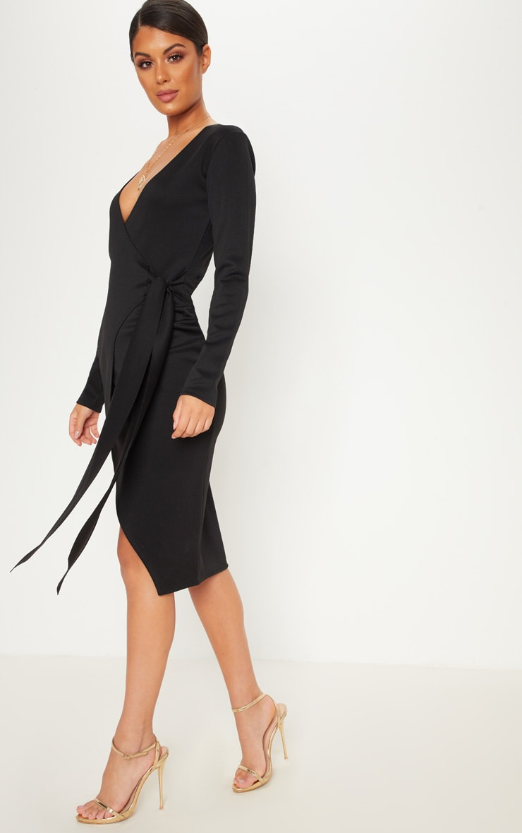Black Plunge Long Sleeve Wrap Over Midi Dress