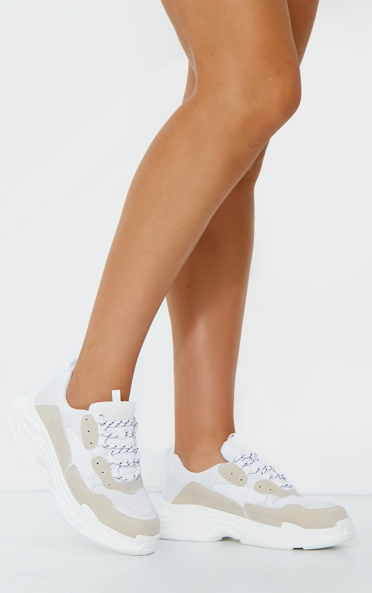 White Chunky Contrast Panel Trainers 1