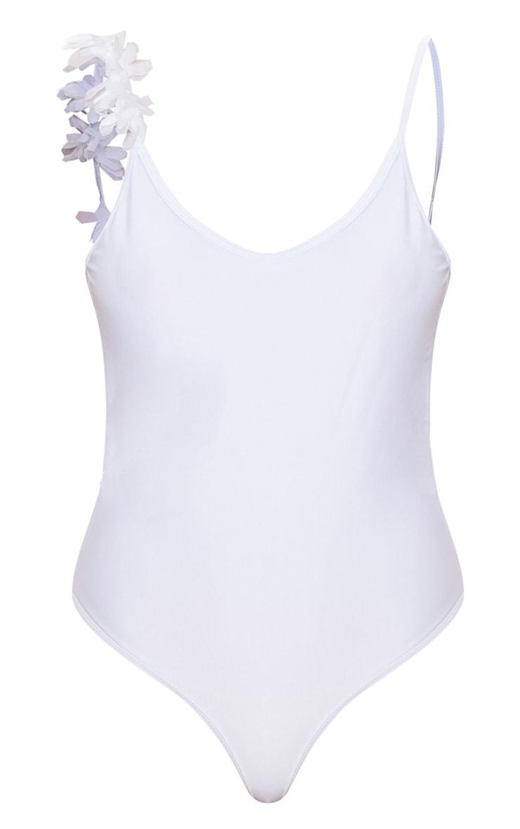 White One Shoulder Flower Strap Swimsuit 3