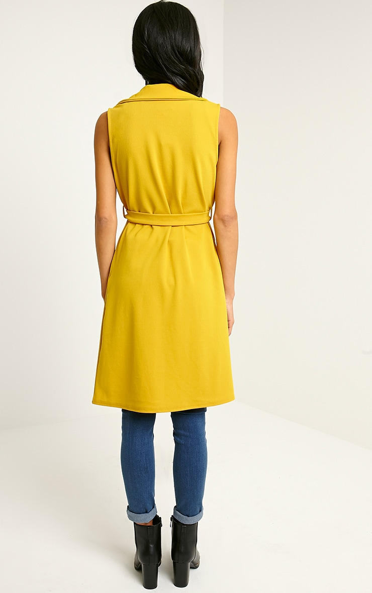 Tegan Mustard Sleeveless Duster Jacket 2