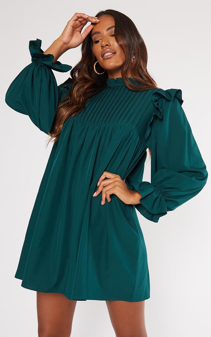 Emerald Green Ruffle Binding Detail Shirt Dress 3