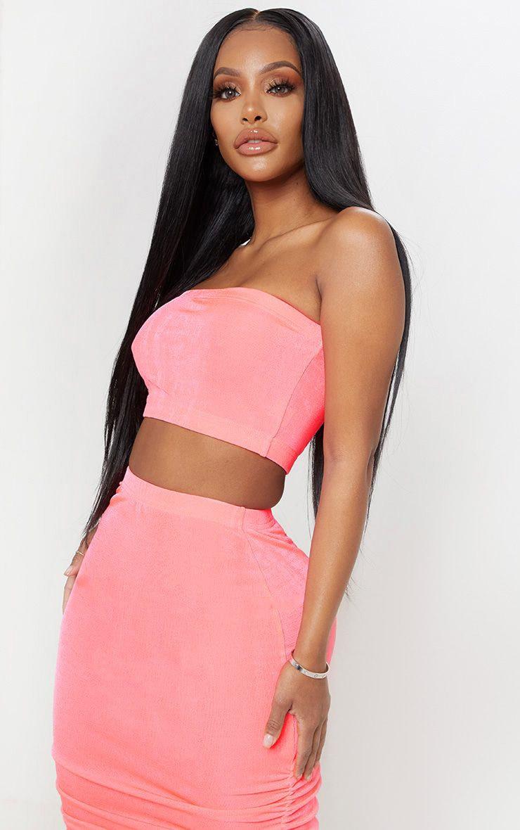 Shape Pink Slinky Neon Bandeau Crop Top  1