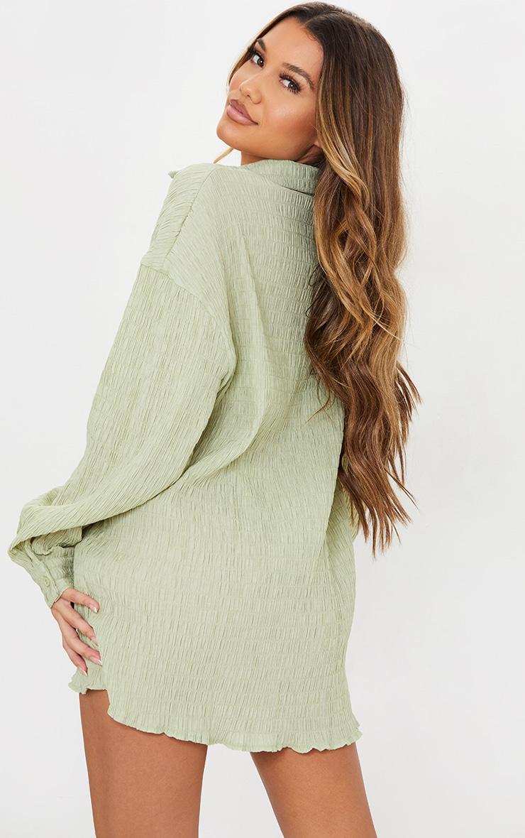 Green Shirred Crinkle Oversized Beach Shirt 2