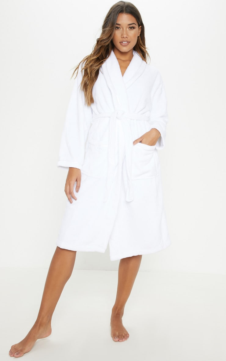 White Long Fluffy Dressing Gown image 1 074d947bc