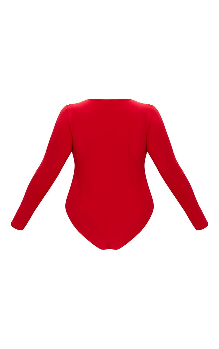 Plus Red Slinky Long Sleeve Bodysuit  4