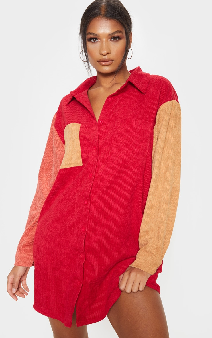 Red Colour Block Cord Pocket Front Oversized Shirt Dress 4