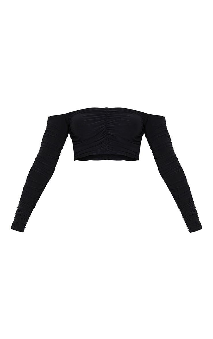 Black Slinky Ruched Long Sleeve Crop Top  3