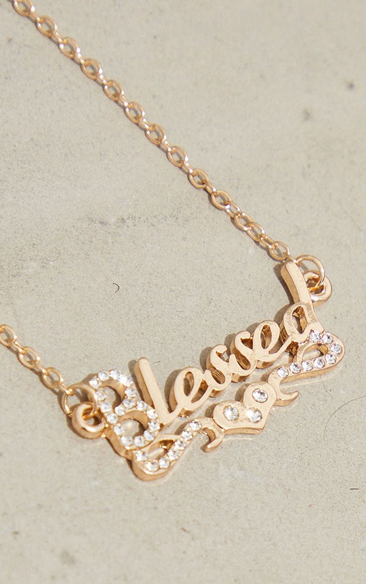 Gold Blessed Diamante Necklace 4